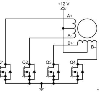 双极性步进电机驱动电路的晶体管数目是单极性驱动电路的两倍,其中四